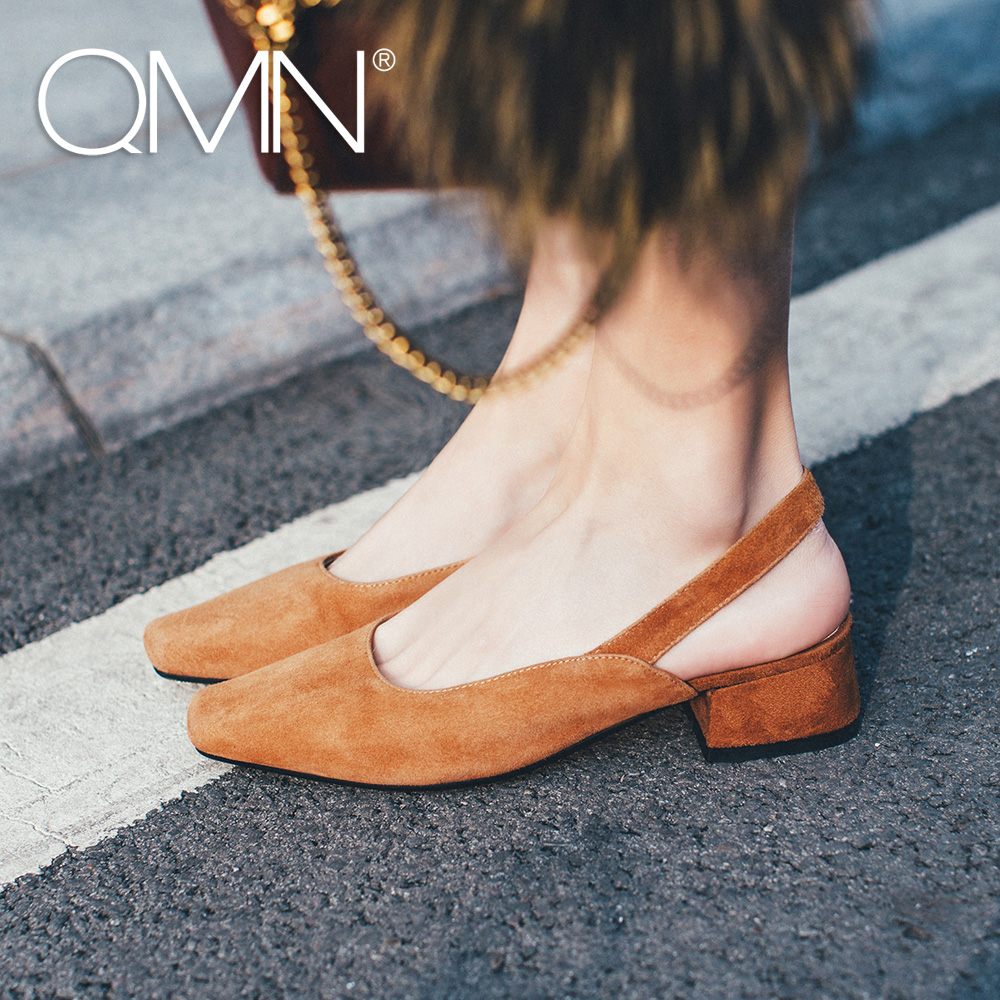 f1576ffc4c6 QMN women genuine leather pumps Women Square Toe Natural Suede Slingbacks  Slip On Summer Leisure Shoes Woman Block Heels Pumps