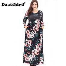 2018 Womens Casual Floral O-Neck Plus Size Long Sleeves Maxi Dress With Pockets