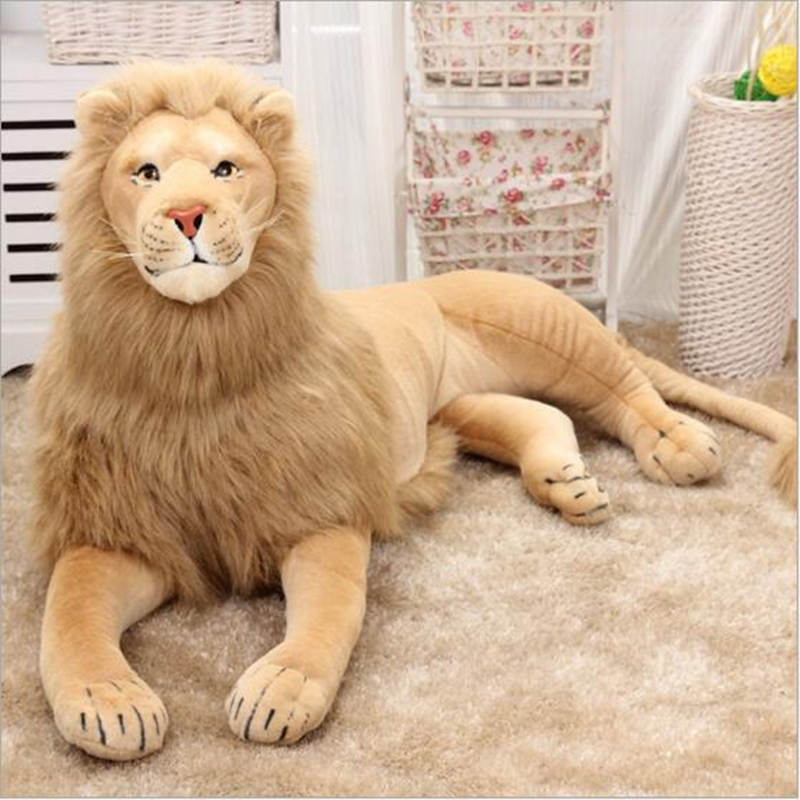 Poupée de lion de simulation, grand cadeau d'anniversaire de peluche d'oreiller mou de peluche de lion de 130 cm h2879
