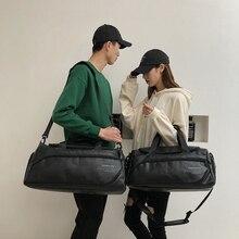 革 PU 黒レディース旅行バッグハンドバッグ男性大旅行バッグ荷物バッグ女性大きな一晩週末バッグ