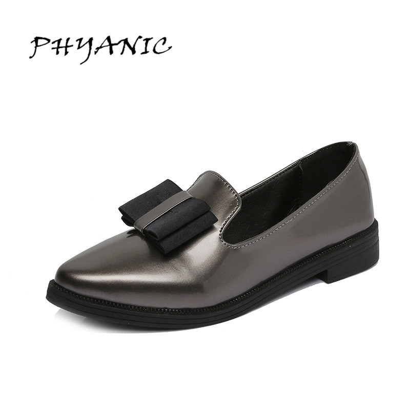 PHYANIC 2017 New Oxfords Bowtie Platform Shoes Woman Casual Loafers Poined Toe Women Brogue Shoes Slip On Flats PHY4906 phyanic crystal shoes woman 2017 bling gladiator sandals casual creepers slip on flats beach platform women shoes phy4041