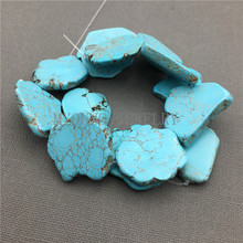 MY0165 Blue Tur quoise Freeform Slab Nugget Beads 15.5 Strand Loose Howlite Slice beads DIY Jewelry Making Necklace Bracelet