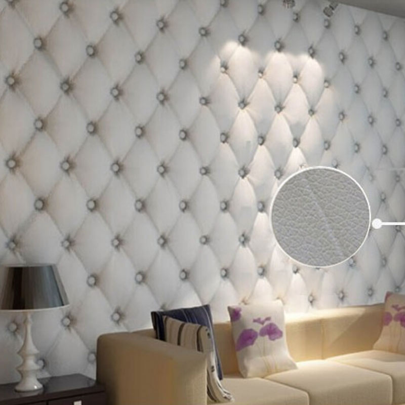 Modern Leather Softbag 3D Wallpaper PVC Diamond Sofa Living Room Bedroom Background Home Decor Wall Paper Roll Papel De Parede