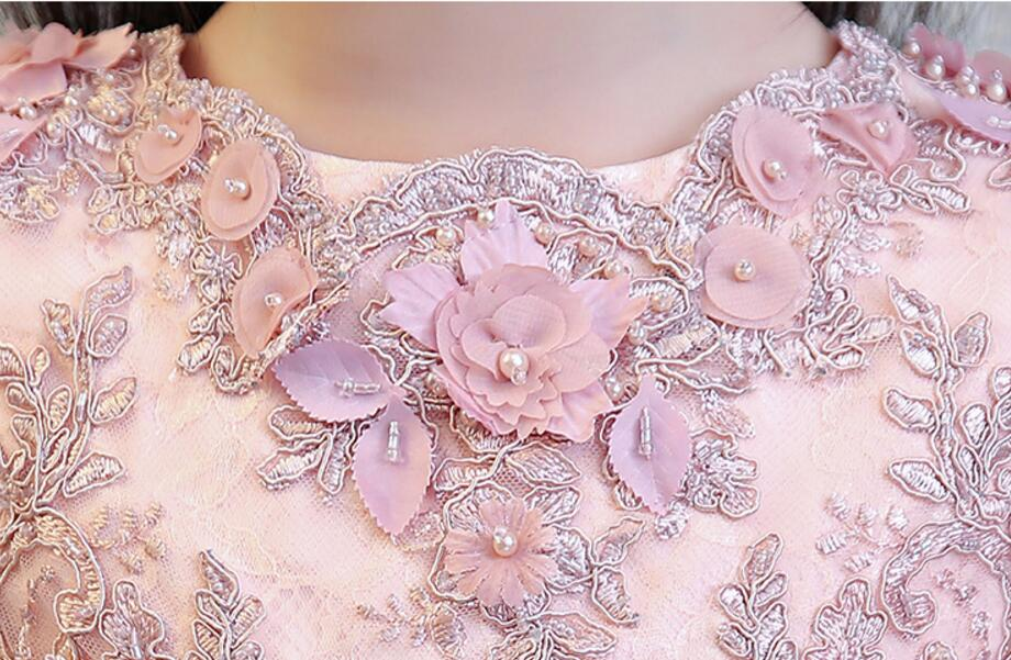 Exquisite Short Sleeve Pink Flower Girls Formal Wedding Dresses Kids Bead Evening Party Princess Birthday Sunny Holiday Dress