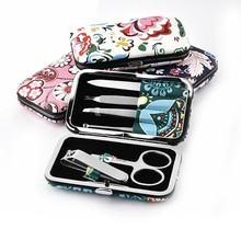Flower Manicure Tool Portable Pedicure Sets With Metal Lock Case Stainless Steel Nail Clipper Kit For Unisex Multifunctional все цены