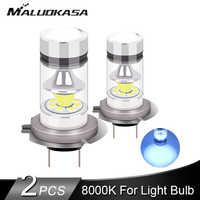 2PCS H7 H11 H1 LED Fog Light 2400LM 8000K Blue Light HB4 HB3 H3 H8 LED Car Running Fog Lamp Bulb 12V 24V Car Accessories