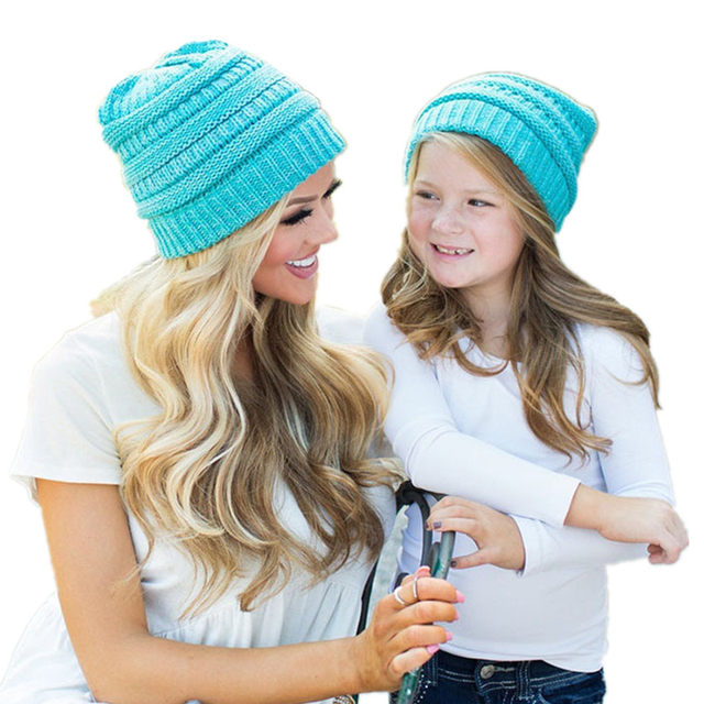 0add2176a8d Fashion Winter Hats Parent-child Solid Hat Female Unisex Plain Mother and  kids Skullies Beanies