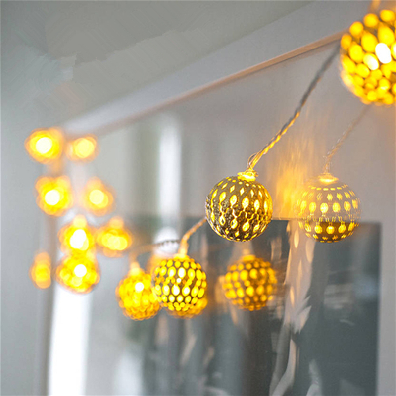 10m String Light Hollow-Out Iron Gold Ball EU Plug Operated Led Lighting Christmas Garland Wedding Party  Decoration Lamps H-36