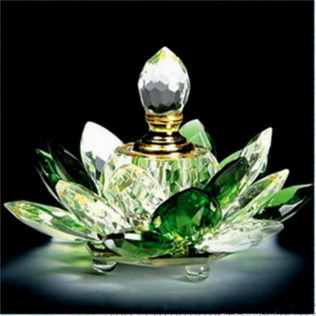 Jqj Crystal Glass Hue Reflection Lotus Flower Perfume Bottle Green
