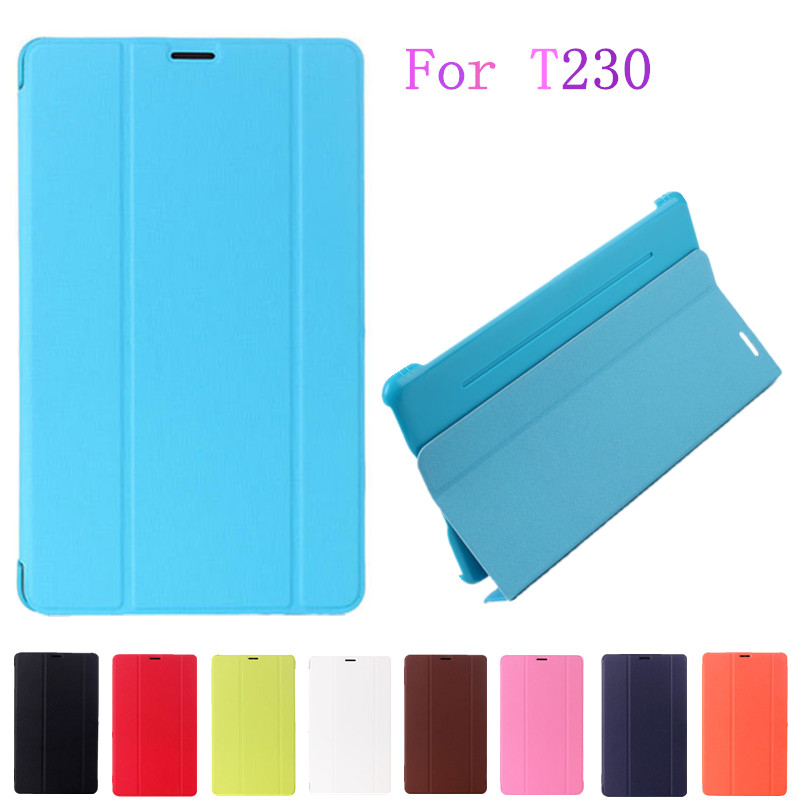Folding SmartTab4 T230 Case PU Leather Stand Flip Case Cover for Samsung Galaxy Tab 4 7.0 T230 T231 T235