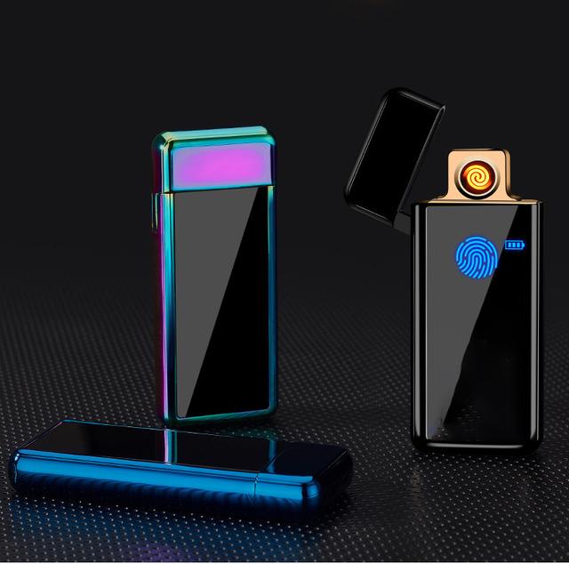 Full Screen Pattern Electronic  USB Lighter Tungsten Turbo Cigarette Lighter For Smoking