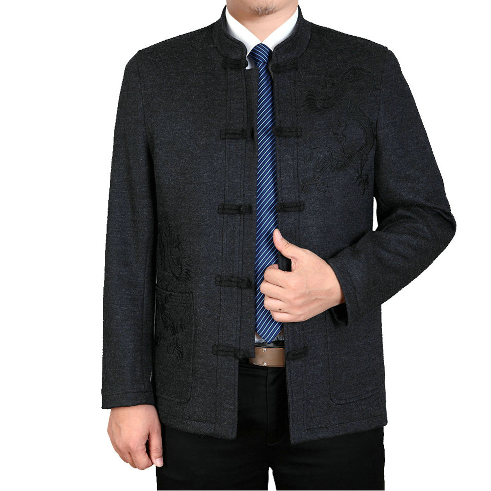 WAEOLSA Chinese Men Oriental Tunic Jackets Wool Blends Tangzhuang Coats Mans Dragon Embroidery Tweed Suit Cashmere Coat Ethnical in Jackets from Men 39 s Clothing