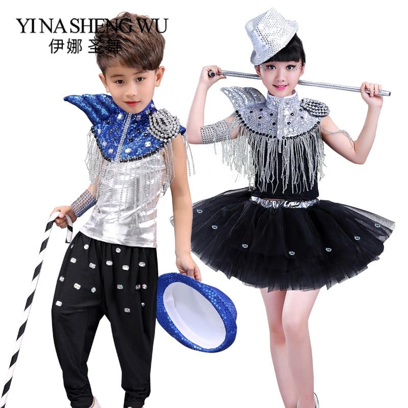 Kids Glitter Sequin Jazz Dance Costumes Stage Boy And Girl Hip-hop Dance Performance Costumes Children Shining Jazz Dance