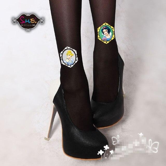 Princess sweet lolita pantyhose Korean princess pattern dazzle colour tattoo thin  pantyhose LKW106