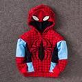 New Hot!!!!! Na Primavera De 2016 O Outono Nova Hoodies Meninos Moda Menino Spiderman Casaco de Algodão dos desenhos animados