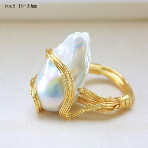 Image 4 - BaroqueOnly Handmade 15 30mm Big Baroque Beads Wire Wrapped Rings Natural Freshwater White Pearl Fashion Woman Party Jewelry ROA