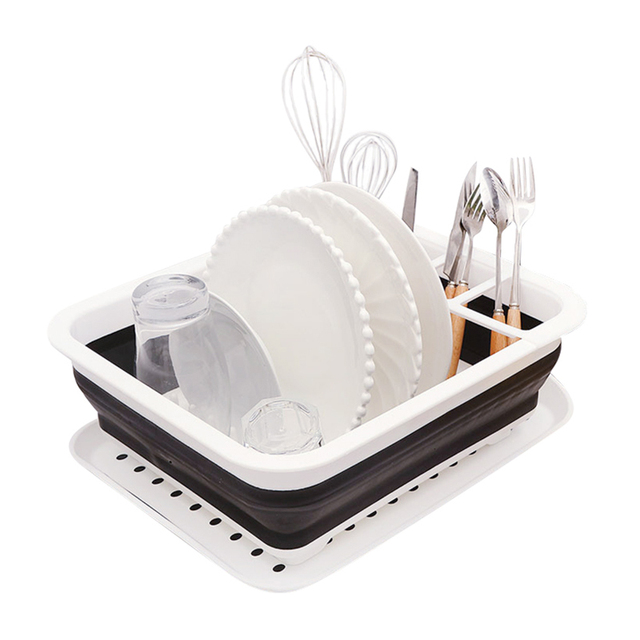 kitchen drainer basket professional faucets plastic foldable drying dish with tray space saving for tool organizer rack