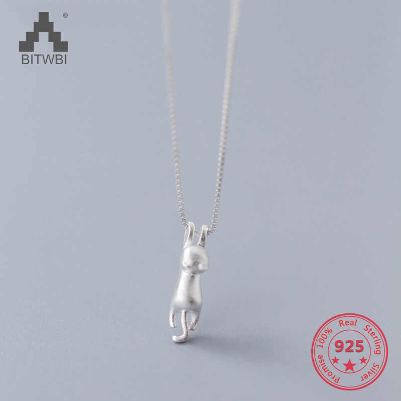 Hot Sale S925 Sterling Silver Fashion Creative Mix Personality Cute Scrub Cat Pendnts Necklace