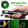6 in 1 Pointer Burning 303 Laser Lazer Pen Beam Light Adjustable Focus 1mw Green+ Battery +Charger with Sweden post