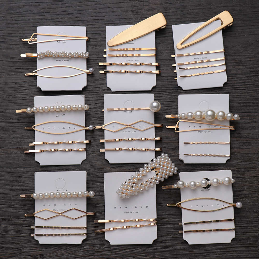 1SET Metal Minimalist Hair Accessories Geometric Irregular Gold Color Hair Clip Imitiation Pearl Hairpin Barrettes Hairgrip