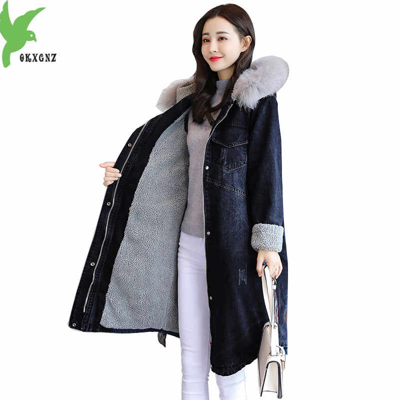 d5c9e3109e1 2018 New Parka Fur Collar Lambswool Denim Jacket Winter Cotton Coat Women  Female Warm Jeans Coats