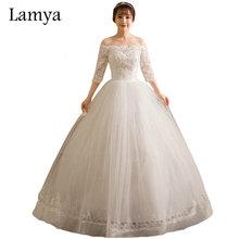 Свадебные платья в стиле винтаж женские кружевные свадебные платья с коротким рукавом Дешевые Свадебные платья с вырезом лодочкой Vestidos De Noiva Китай