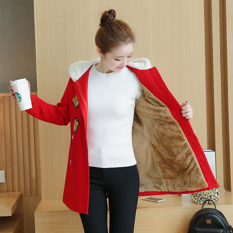 Plus Velvet Autumn Winter Maternity Coats Clothing Pregnancy for Pregnant Women Wear  Hooded Outerwear Gravida Jacket B483