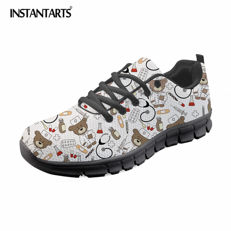 INSTANTARTS Cute Cartoon Nurse Print Women Flat Shoes Breathable Lace Up Sneakers Girls Ladies Fashion Mesh Light Flats Zapatos instantarts cute cartoon design women flat shoes dental equipment printed female mesh sneakers casual lace up flats for girls
