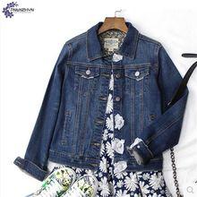 TNLNZHYN Women clothing denim jacket 2017 spring new fashion large size casual lapel long sleeve female short denim jacket TT520