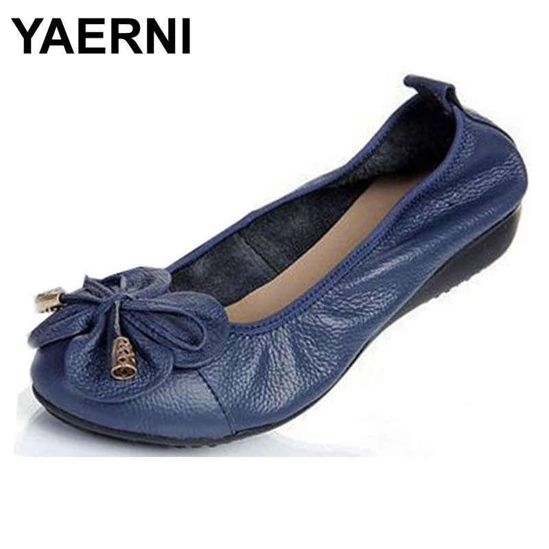YAERNI  Plus size(35-42) women flats,women genuine leather flat shoes woman loafers newest fashion female casual single shoes