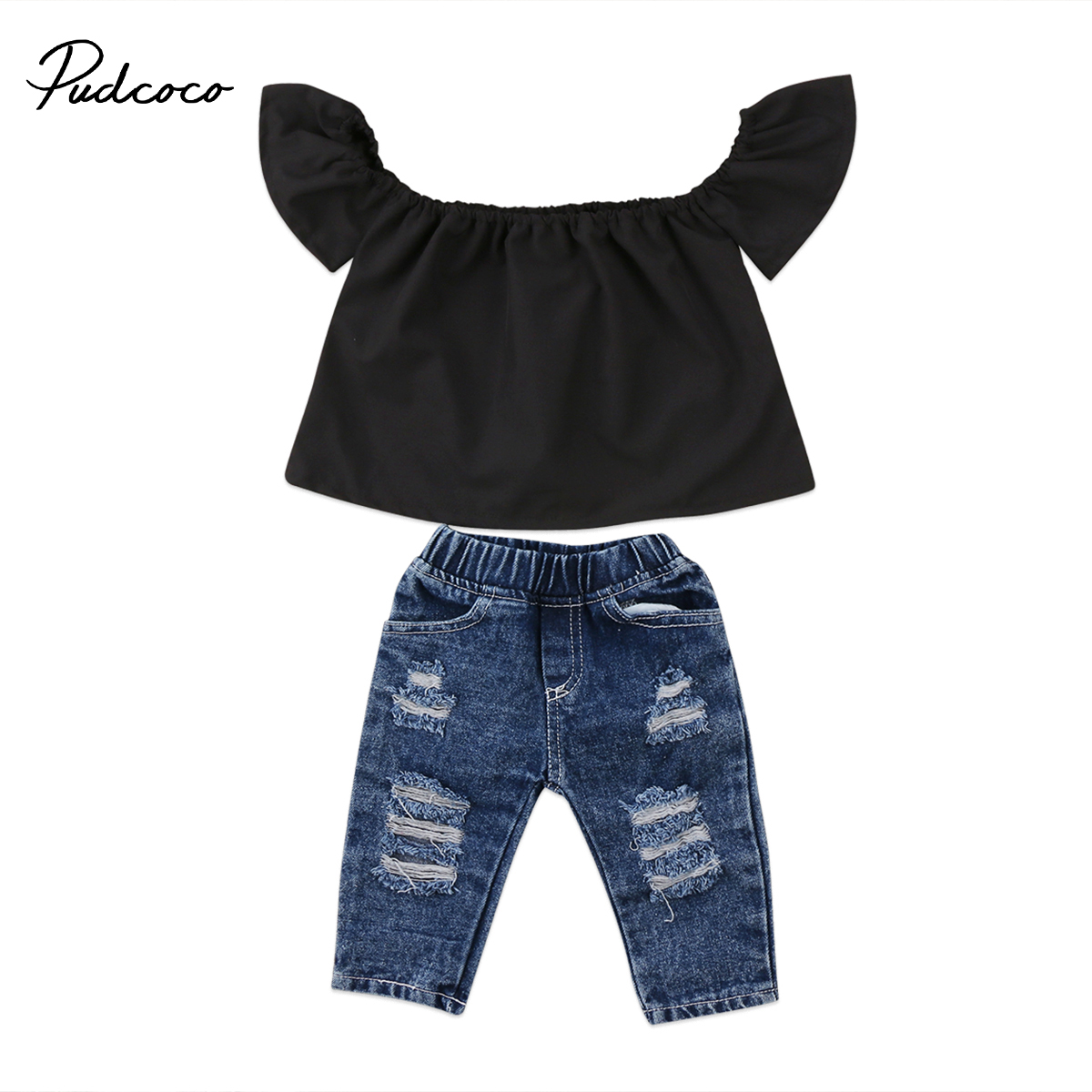Toddler Baby Kids Girls Denim Ruffle Clothing Set Off Shoulder Tops Denim Pants Outfits Set Clothes floral toddler girl clothing 2017 summer kids clothes baby girls off shoulder ruffle crop tops high waist shorts outfits set 3pc