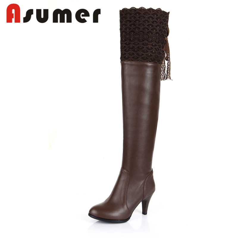 ASUMER 2018 NEW adult Bud silk over the knee boots solid sexy women winter boots pointed toe zipper pu+genuine leather bootsASUMER 2018 NEW adult Bud silk over the knee boots solid sexy women winter boots pointed toe zipper pu+genuine leather boots