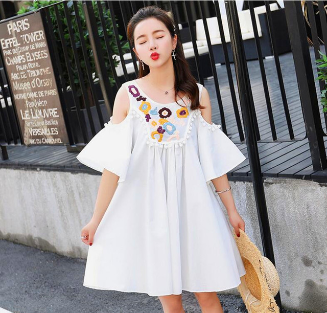 e03416bc9fcd3 Pengpious 2018 new arrival maternity cotton embroidery shirts shoulderless  tassel collor cotton blouses long loose casual