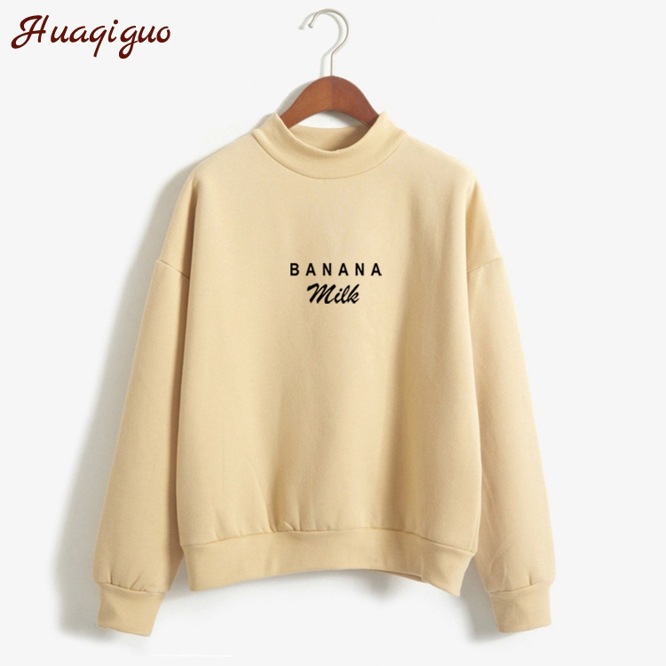 Korean Autumn Winter Harajuku Sweatshirt Women Loose Banana Milk Letter Print Moletom Girls Kawaii Warm Thick Hoodies Pullovers