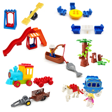 Big Size Building Block Swing Amusement Park Train Figures Accessories Scene Combination Toys For Children Compatible With Duplo цены
