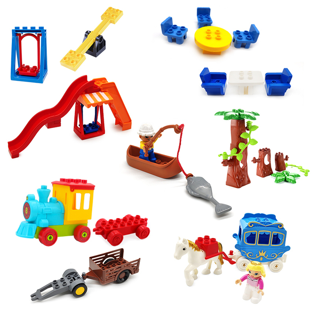 Big Size Building Block Swing Amusement Park Train Figures Accessories Scene Combination Toys For Children Compatible With Duplo