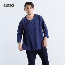 2017 neue China Stil Baumwolle Leinen Männer Casual Shirts Oblique Taste Einfarbig Männlichen Lose Shirts