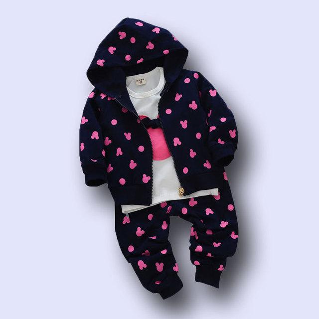 3 Unids kid ropa de bebé niñas establece escudo de la Camiseta + pantalones chicas Ropa de deporte traje de Niño prendas de vestir exteriores de Ropa 2017 nuevo estilo de moda