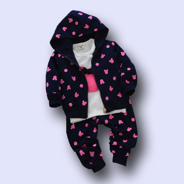 3Pcs kid baby girls clothing sets coat+T-shirt pants girl Clothes sport suit Toddler outerwear Clothes 2017 new fashion style