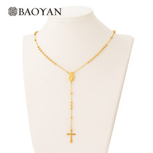 1a5f116bbaf2 Hurtownie religijne długi 316L ze stali nierdzewnej złoto zroszony krzyż  katolicki naszyjnik różaniec łańcucha naszyjniki