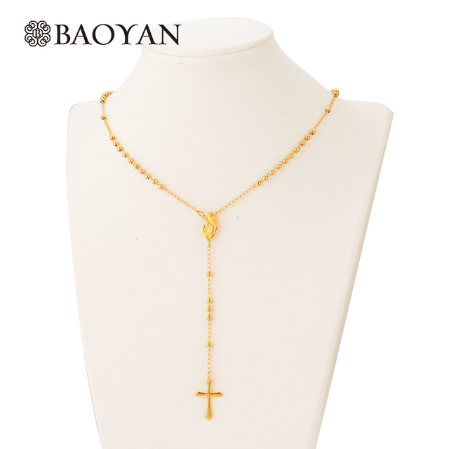 Wholesale Religious Long 316L Stainless Steel Gold Beaded Cross Catholic Necklac
