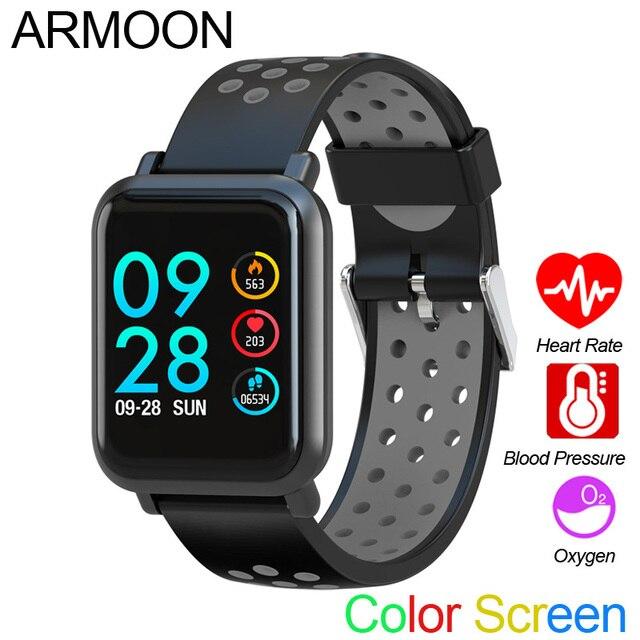 الذكية الرياضة ووتش SN60 الروبوت IOS القلب معدل الرجال النساء سوار ضغط الدم جهاز تعقب للياقة البدنية اللون للماء النشاط الفرقة