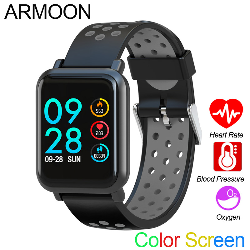 Smart Sport Watch SN60 Android IOS Heart Rate Men Women Bracelet Blood Pressure Fitness Tracker Color Waterproof Activity Band-in Smart Wristbands from Consumer Electronics