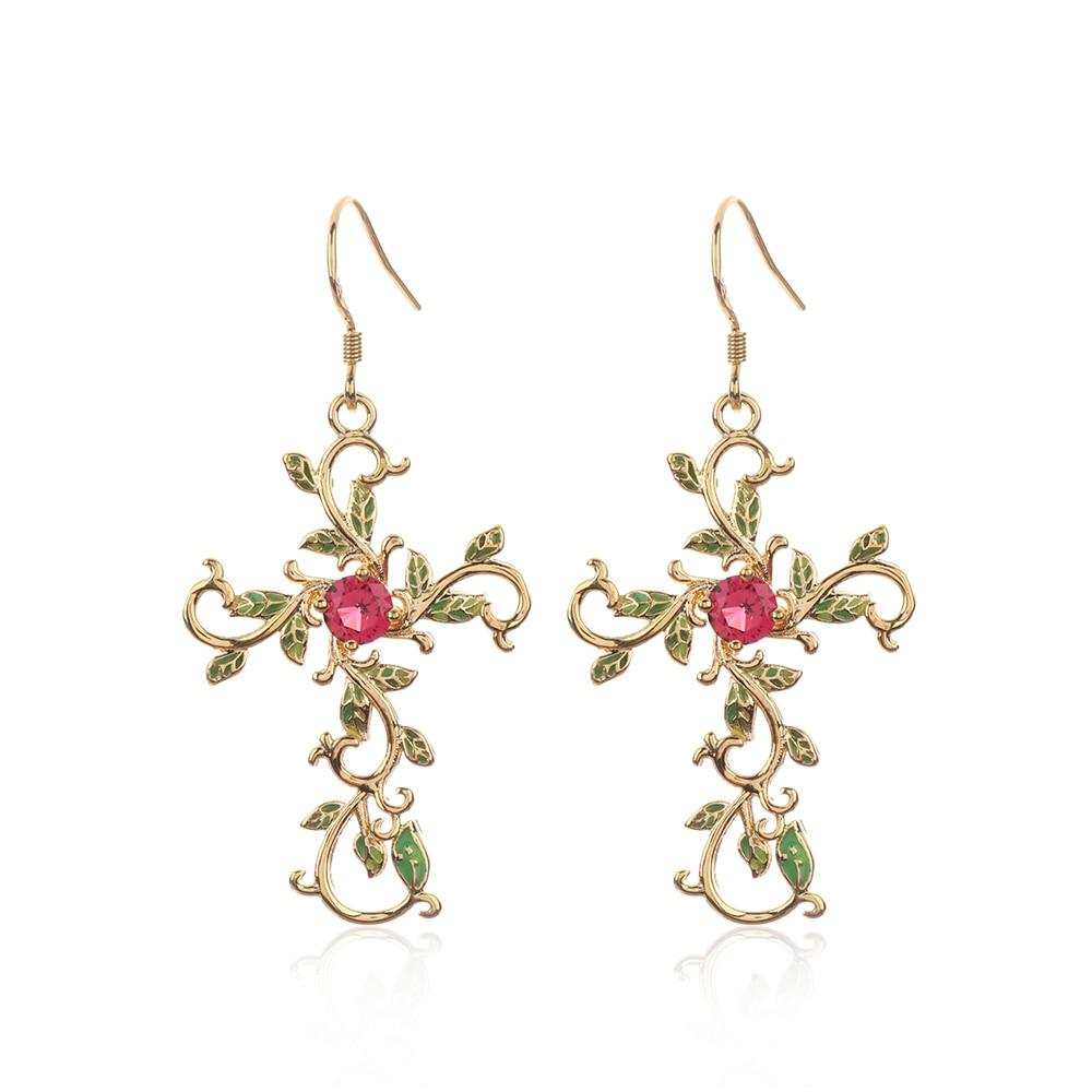 1set Ethnic Religious Jewelry Set Flower Cross Necklace Earrings Vintage God We Trust Cross Pendant Necklace for Women Jewelry