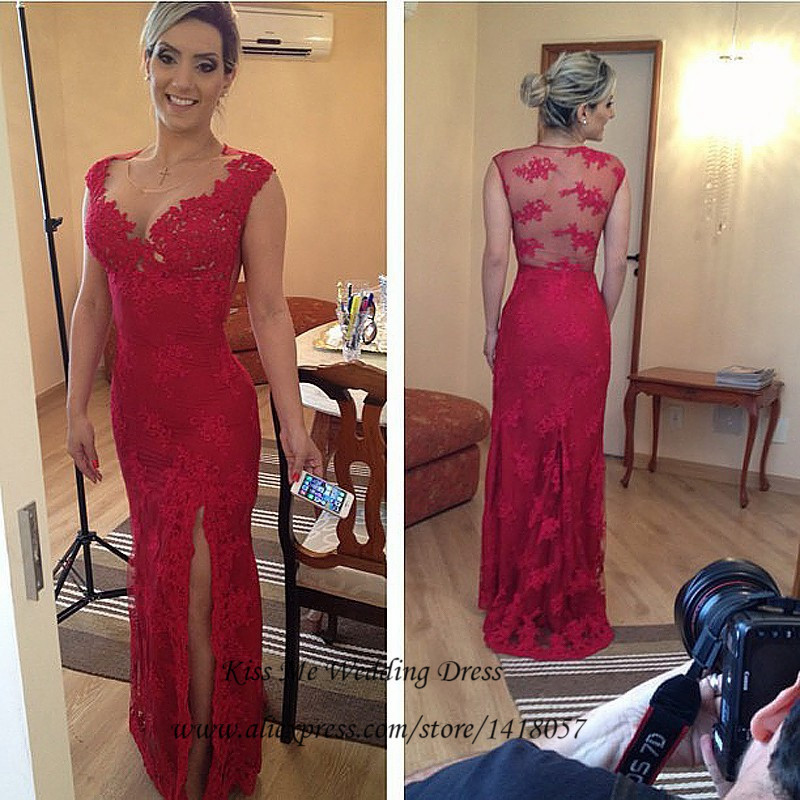 Vestido de Renda Red Lace Evening Dresses 2015 Scoop Mermaid Long Prom Dress Front Split Women Applique Robe de Soiree