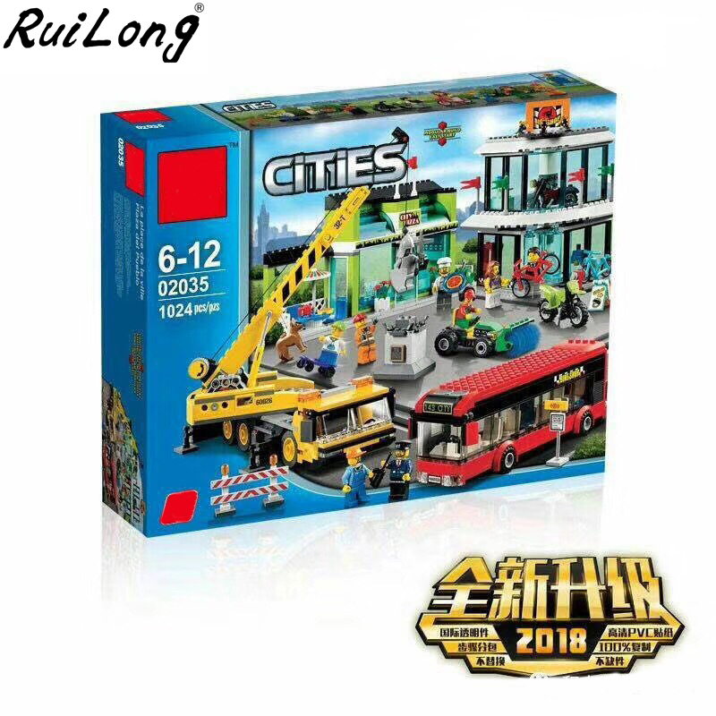 New Town Square City Blocks Crane Building Blocks Bricks Compatible Legoinglys City 60026 Educational Toys for Children Gift gudi blocks city air plane building blocks international airport compatible legoinglys block educational toys for children gift