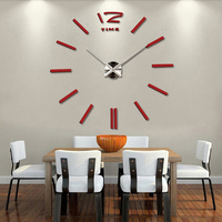 Frameless Wall Clock Living Room DIY 3D Home Decor Mirror Large Art Design