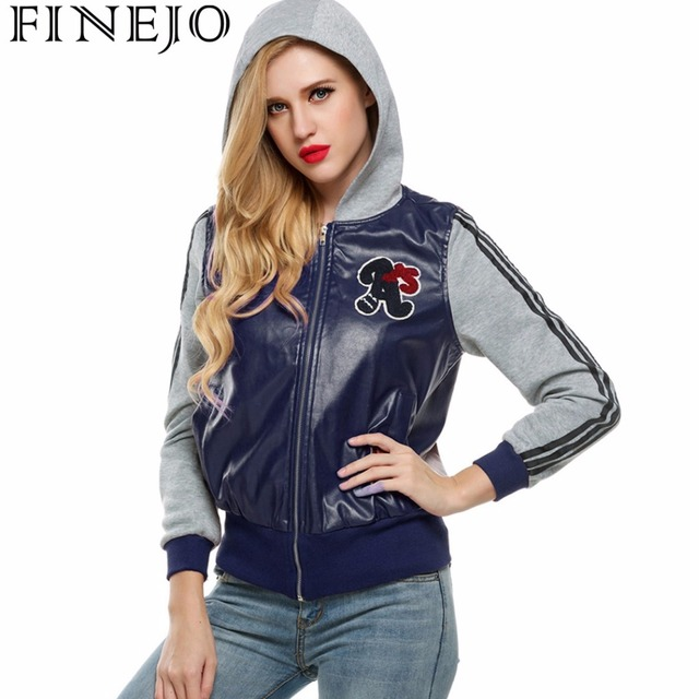 2edf79e065a FINEJO Cool Women Hooded Zip up Motorcycle Jacket Biker Coat Synthetic  Leather Patchwork Plus Size 3XL