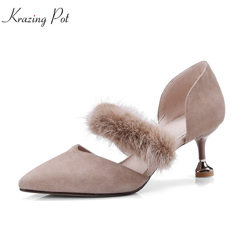 krazing Pot 2018 sheep suede sable hair spring women pumps thin high heels simple pointed toe solid wedding shallow shoes L05 krazing pot empty after shallow shoes woman lace work flats pointed toe slip on sheep suede causal summer outside slippers l16