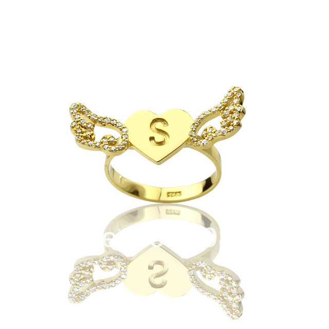Asas do Amor de AILIN Com Birthstone Anel Personalizado Gravado 1 Inicial  Em Nome Anéis Anéis 8d2b3ed832